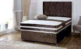 Crushed Velvet Divan Bed Set with Open Sprung Memory Foam Mattress & H/Board