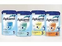 Aptamil stages 1-4 available for export from £57 per case of 6- Wholesale Only
