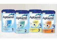 APTAMIL STAGES 3 AND 4 1 PALLET OF EACH AVAILABLE @ £55.50 PER CASE (WHOLESALE ONLY)