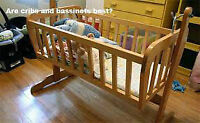 LIGHT WEIGHT BASSINET REAL WOOD CRIB WITH MATRESS   WITH MATRESS