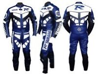 One or two piece blue Yamaha racing suit