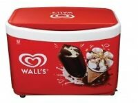 Wall Econic ice cream freezer with extra signage