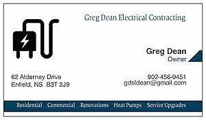 **Experienced Certified Electrician 902-456-9451 GREG DEAN**