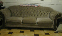 SOFA / COUCH & CHAIR WITH WOOD TRIM (Best Offer)