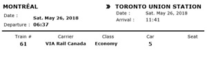 Montreal-Toronto VIA ticket Saturday, May 26