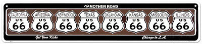 Route 66 8 Shields Tin Sign - 24x5