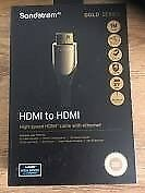 SANDSTROM Gold series HDMI Cable with Ethernet - 3M gold series 4K- Brand New