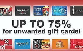 We Buy Gift Cards and Pay TOP $$$$ - Prepaid Vanilla/Master Cards,Store Credits Home Depot,Walmart,Best Buy,Apple Etc