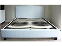 White FAUX LEATHER Double BED FRAME.......Brand New.......Free Local Delivery...