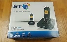 BT 1000 TWIN DIGITAL CORDLESS HOME TELEPHONE & CALLER DISPLAY, BOXED
