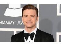 Justin Timberlake Tickets x4 Standing o2 Indigo Monday 3rd October £220 Each
