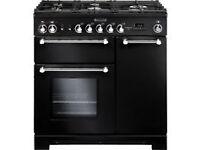BRAND NEW RANGEMASTER Kitchener 90 Dual Fuel Range Cooker in Black. SAVE OVER £600.