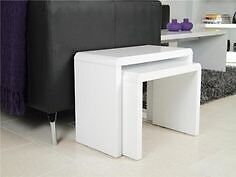White high gloss nest of 2 coffee tables