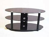Black glass oval TV stand 32-47""