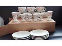 Boots hedgerose crockery- mugs, cups, saucers, egg cups and candlestick holders