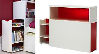 IKEA Flaxa Headboard Shelves Pull Out Storage Unit Head Bed Single Book Bookshelf Shelf White