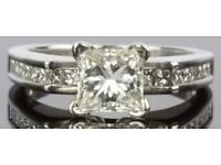 18ct white gold 1.55ct (over 1 1/2) carat) princess cut diamond engagement ring & valuation for sale  Swanwick, Derbyshire