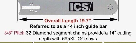 ICS Concrete Chain Saw Bar,14 In.,0.4 ga., 513122
