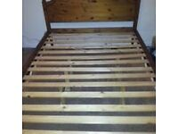 Pine double bed with slatted base