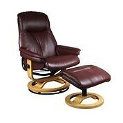 CATANIA SWIVEL RECLINER CHAIR WITH FOOTSTOOL IN BURGUNDY
