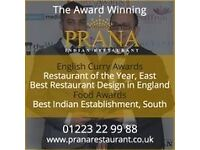 Waiter/Waitress Vacancies @ Prana Indian Restaurant Mill Road