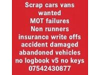 SCRAP CARS WANTED, CASH ON COLLECTION