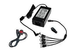 cctv camera power supply 8 way splitter with ac adapter 12v 5 amp power supply uk plug