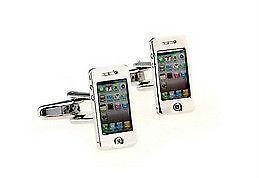 iPhone inspired white and silver tone cuff links (Brand-new).
