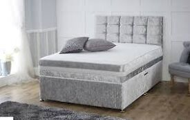 """""""NEW"""" CRUSHED VELVET FABRIC BED WITH 1000 POCKET SPRUNG MATTRESS £199"""