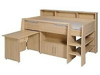 Perfect for xmas! Child midsleeper cabin bed, lots of storage, desk, memory-foam matress