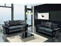 ⭐️🌟✨Best Furniture⭐️🌟✨SHANNON SOFA FABRIC & FAUX LEATHER-CORNER/3+2 SEATER-black and grey only