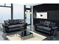 🔴SUPER SALE🔵SHANNON SOFA FABRIC & FAUX LEATHER-CORNER/3+2 SEATER-black and grey only