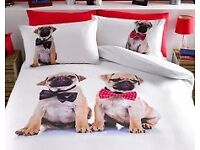 KING SIZE PUG DOGS DUVET SET new unopened.