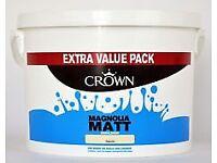 2 x 7.5ltrs CROWN Matt Emulsion MAGNOLIA