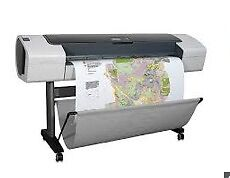 HP designjet T610, inkjet, large format printer c/w instructions, paper and ink.