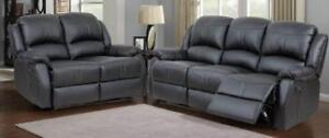 New in Boxes!!! 3PC Reclining Sofa Sets includes Sofa, Love Seat and Chair in Black or Brown PU.  10 Available.