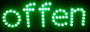 LED Schilder Offen  geöffnet Reklame Schild Neon  Grün Blinken Animation 41X17cm