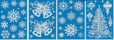 Glow In The Dark Snowflakes (CHRISTMAS Glow in Dark wall stickers 59 decals tree ornaments snowflakes)
