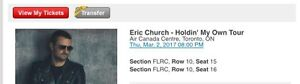 Eric Church ACC- 10th row centre
