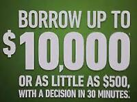 Personal Loans - starting at $500 with 9 months to pay back!