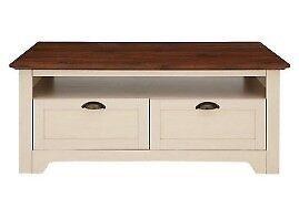 Devon Storage Coffee Table- D 60, H 48, W 117 cm - IVORY/WALNUT