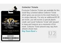 1 Seating Collectors Ticket U2 Dublin with Accomodation at Avalon House 22:th of July