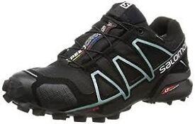 Salomon Women Speedcross 4 Gtx Trail Running Shoes, Black (Black/Metallic Bubble Blue), 5 UK 38 EU