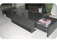 BLACK LARGE COFFEE TABLE WITH GLASS TOP