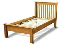 John Lewis Oak single bed , with quality 30 cm Mattress . Both As New