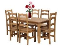 Wooden Corona pine Dining table with 6 chairs