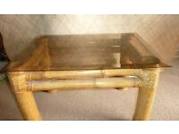 Vintage Bamboo & Smoked Glass Table