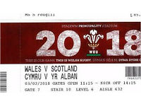 2 x tickets 6 Nations Rugby - Scotland vs Wales Cardiff 3rd Feb 2018