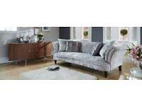4 seater crushed velvet silver sofa
