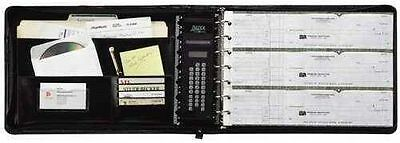 7 Ring Binder Business Check Book 3-on-a-page Zippered Leather Look Vinyl Black